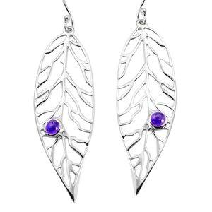 Earrings Leaf Sterling silver amethyst filigree